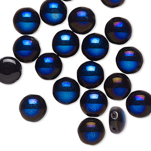 Beads, Bead, Preciosa Candy™, Czech pressed glass, opaque black with half-coat iris spinel blue, 8mm candy with (2) 0.8-0.9mm holes. Sold per pkg of 20