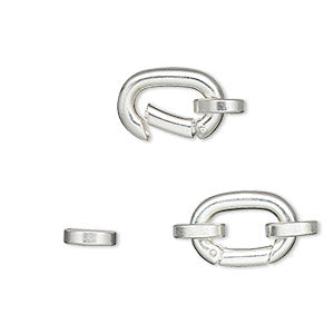 Clasp, Hinged Clip Silver Plated/Finished Silver Colored  self-closing hook, silver-plated brass, 14x10mm with (2) 7x6mm oval jump rings. Sold individually