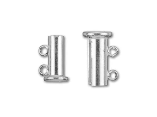 Clasp, Silver-Plated 14x10mm 2-Ring Magnetic Tube Clasp