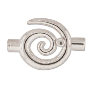 Clasp, TG58SP Largeglue in Toggle Swirl W/6.2mm ID SILVER PLATE
