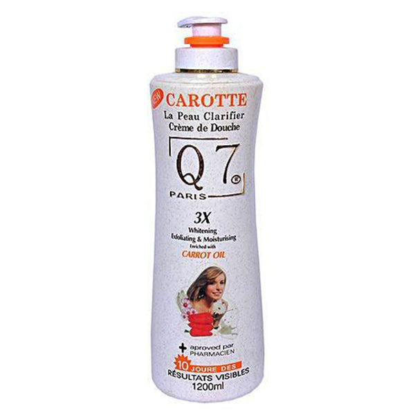Q7 3X Carrot Oil Body Shower Gel 1200 ML (Whitening Exfoliating &Moisturizing)