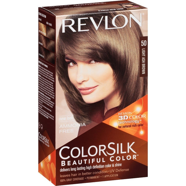 Revlon Colorsilk Beautiful Color Permanent Hair Color, 3D Color Technology, Ammonia Free, Light Ash Brown 50