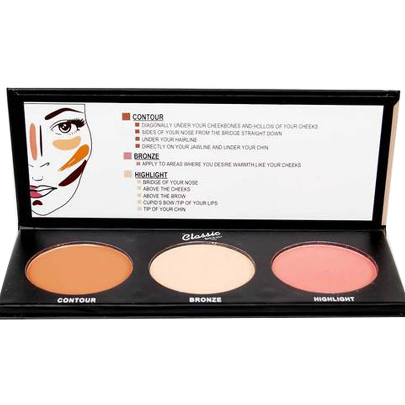Classic Contour Effects (Contour-Bronzer-Highlighter)
