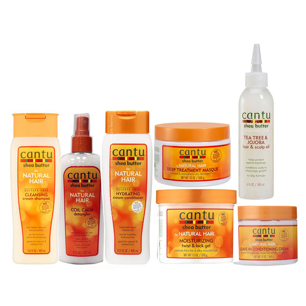 Cantu Natural Hair Care 7-pc Set. (Coil Calm Detangler, Hydrating Cream Conditioner, Deep Treatment Masque, Twist And Lock Gel, Tea tree and Jojoba Oil Scalp, Leave In Conditioner And Cleansing cream shampoo )