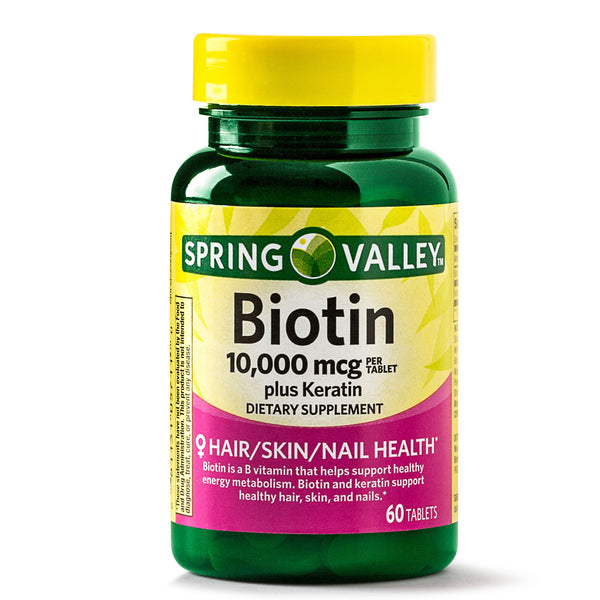 Spring Valley Biotin Plus Keratin Tablets, 10000 mcg, 60 Count