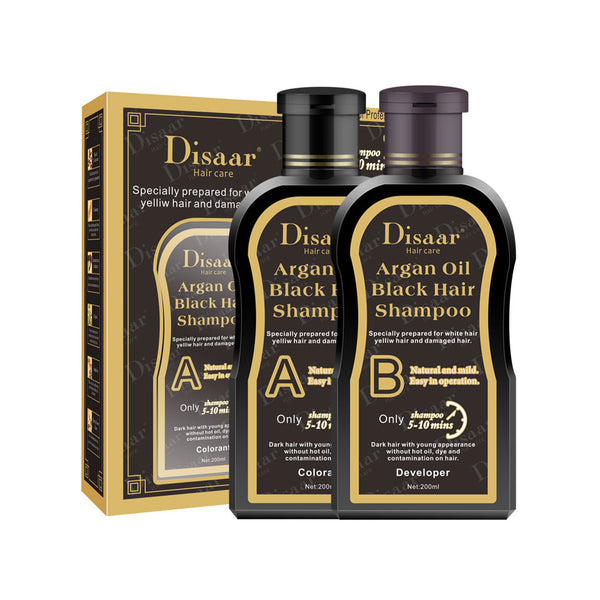 Disaar Argan Oil Hair Black Shampoo Set Quick Hair Color Shampoo Lasting 400ml
