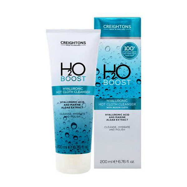 Creightons H2O Boost Hyaluronic Hot Cloth Cleanser With Muslin Cloth 200ml