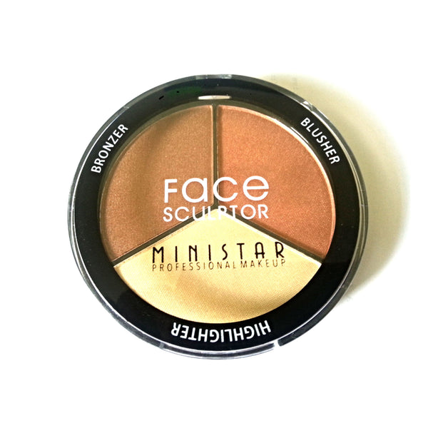 Ministar Professional Makeup Face Sculptor Contour Highlighter And Blusher Kit