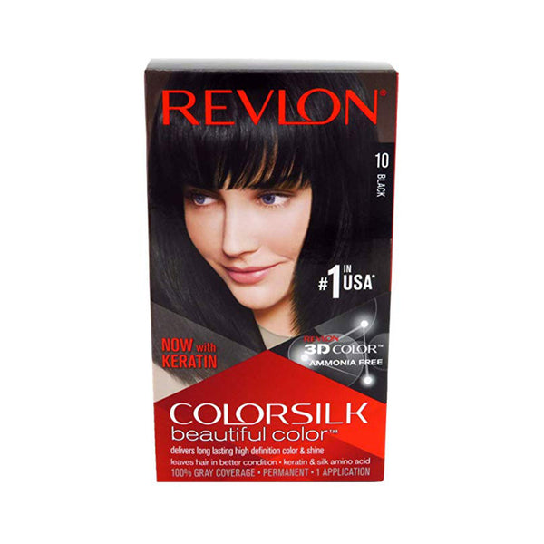 Revlon ColorSilk Beautiful Color Permanent Hair Color 10 Black