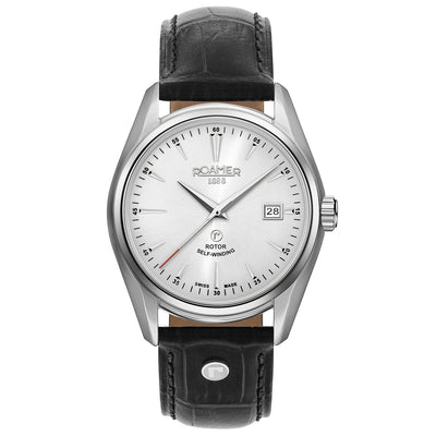roamer searock classic automatic gents stainless steel white dial strap watch