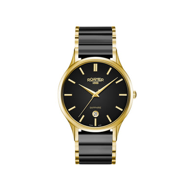 roamer c-line gents ronda 715 gold plated black dial black ceramic bracelet watch