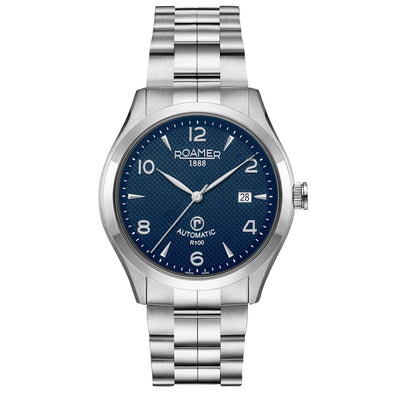 roamer r-100 automatic gents stainless steel blue dial bracelet watch