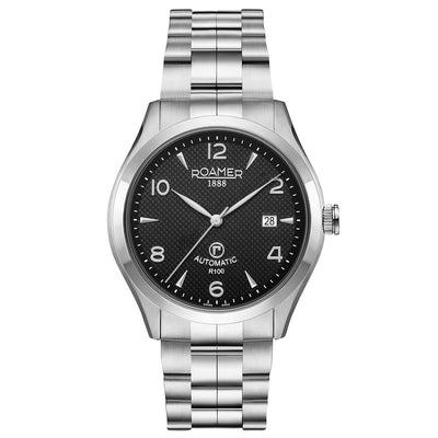roamer r-100 automatic gents stainless steel black dial bracelet watch