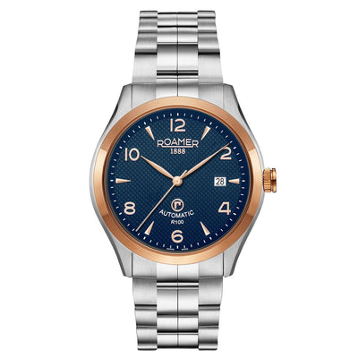 roamer r-100 automatic gents two tone blue dial stainless steel bracelet watch
