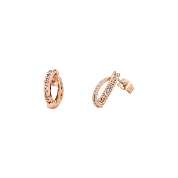karen millen oval pave chain rose gold stud earring