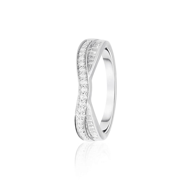 MY Diamond Set Round Brilliant & Baguette Cut Entwinned Double Row Band