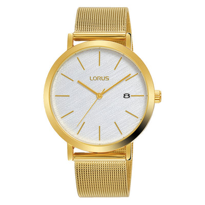 lorus quartz gents gold plated white dial mesh bracelet watch