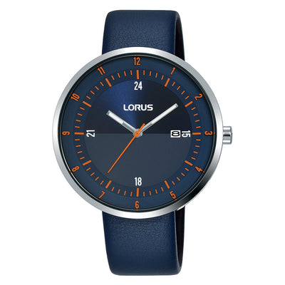 lorus quartz gents stainless steel blue dial blue strap watch