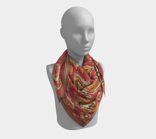 Red and yellow bohemian and vintage scarf Moroccan Berber inspired