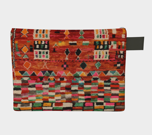 Moroccan vintage zipper carry-all red and bohemian style pattern