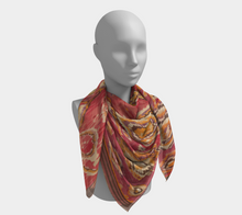 Load image into Gallery viewer, Red and yellow bohemian and vintage scarf Moroccan Berber inspired