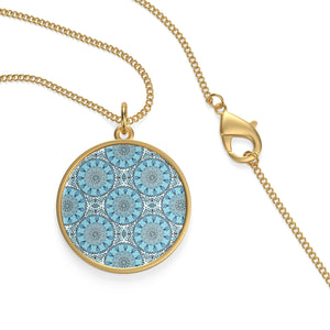 Single Loop Necklace With blue Moroccan patterns