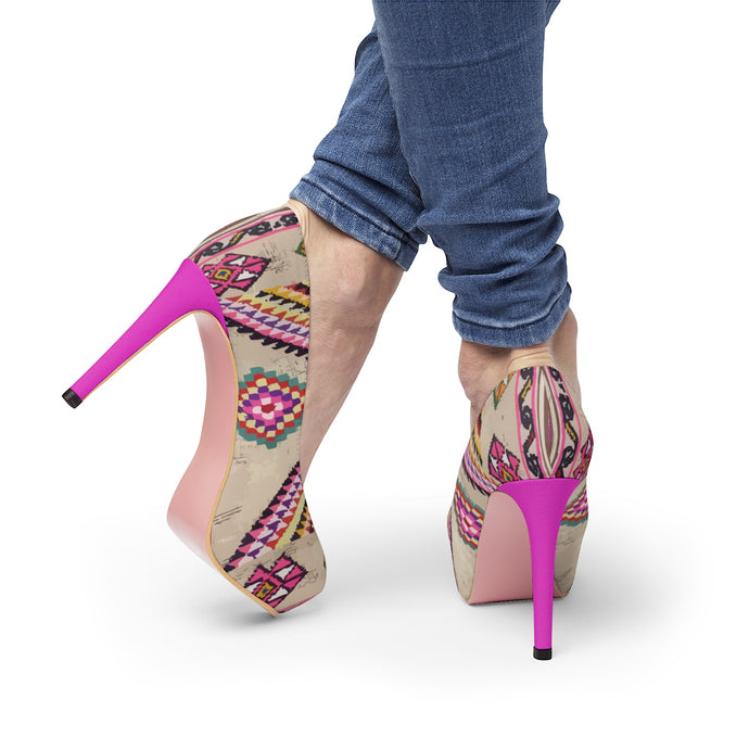 Platform Heels pink ethnic patterns
