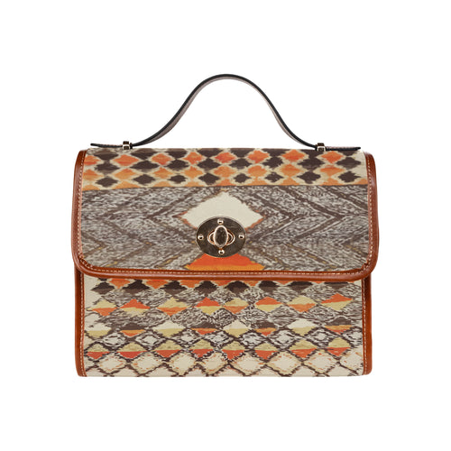 Brown berber pattern Moroccan inpiration handbag Waterproof Canvas Bag/All Over Print (Model 1641)