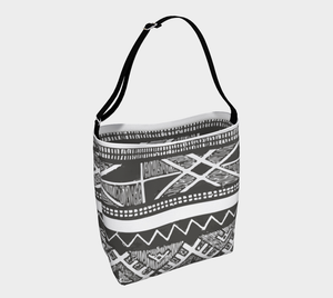 grey and white Morocc bag with Ethnic pattern