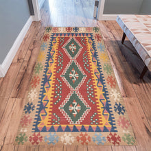 Load image into Gallery viewer, Multicoloured ethnic Area Rug 10'x3'3''