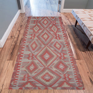 Red and Grey Moroccan geomtric pattern Area Rug 10'x3'3''
