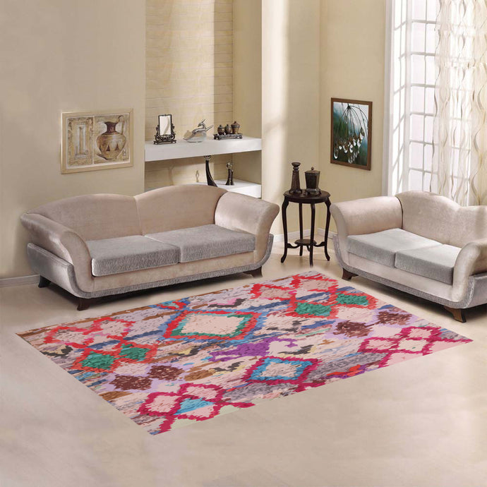 Multicoloured pink berber style rug Area Rug7'x5'