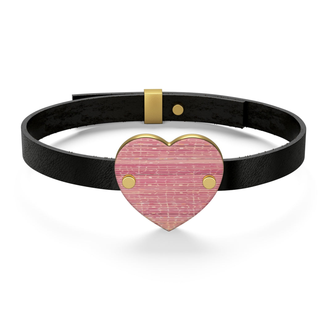 Leather Bracelet with pink Moroccan patterns