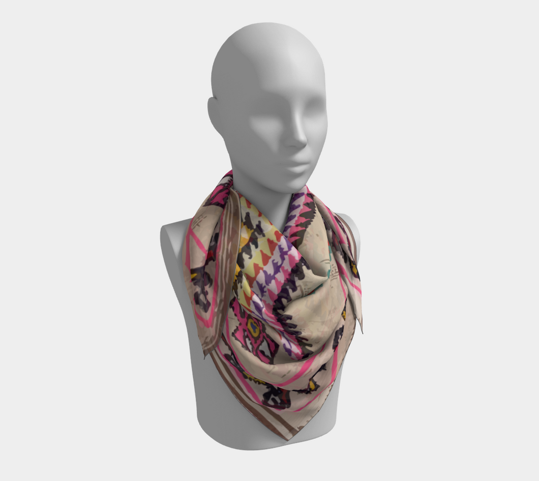 Bohemian berber scarf with pink pattern