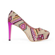 Load image into Gallery viewer, Platform Heels pink ethnic patterns