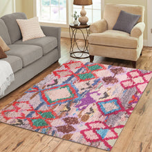Load image into Gallery viewer, Multicoloured pink berber style rug Area Rug7'x5'