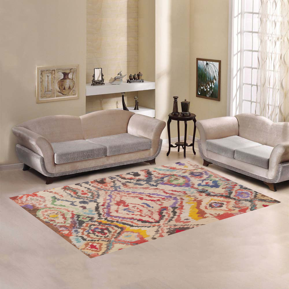 Moroccan rug Multicolor shapes vintage