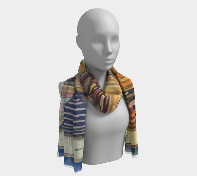 ethnic blue and colorful scarf moroccan pattern