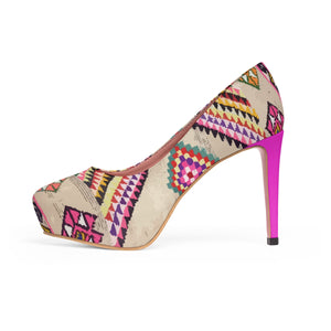 Women's pink Platform Heels with Moroccan and berber ethnic patterns