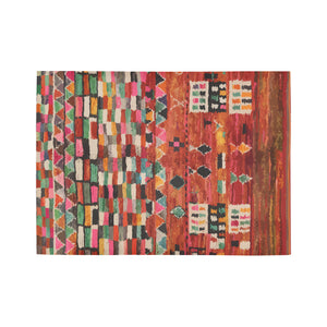Red multicoloured berber and Moroccan rug design Area Rug7'x5'