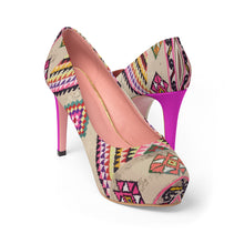 Load image into Gallery viewer, Women's pink Platform Heels with Moroccan and berber ethnic patterns