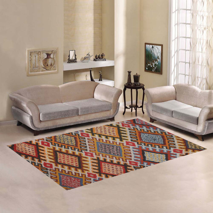 Boho rug  with losange geometric patterns Area Rug7'x5'