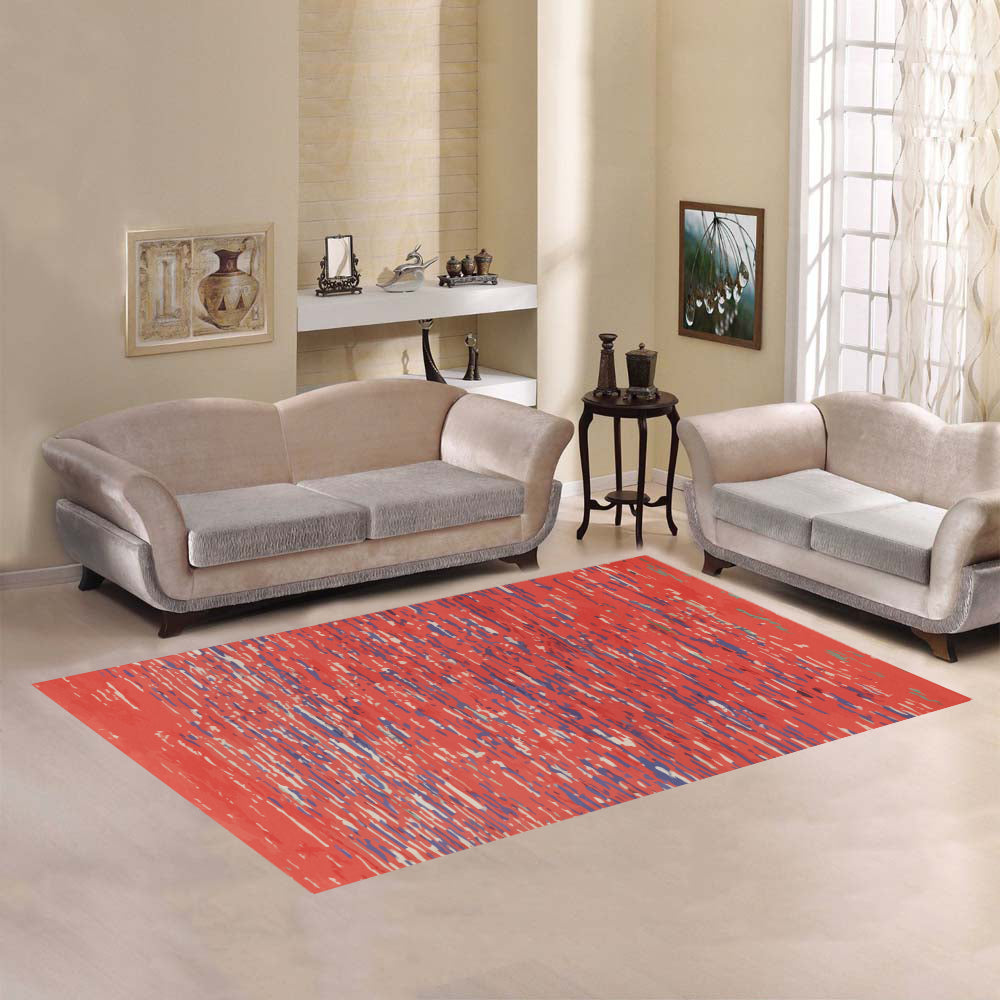 Red Moroccan Berber rug with blue and white lines Area Rug7'x5'