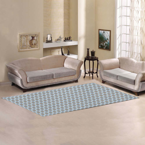 Moroccan square flower inspiration Area Rug 10'x3'3''