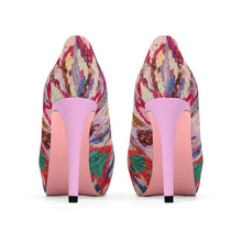 Load image into Gallery viewer, Platform Heels pink and colorful ethnic patterns