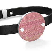 Load image into Gallery viewer, Leather Bracelet with pink Moroccan patterns