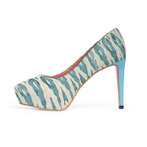 Platform Heels with Ethnic blue patterns