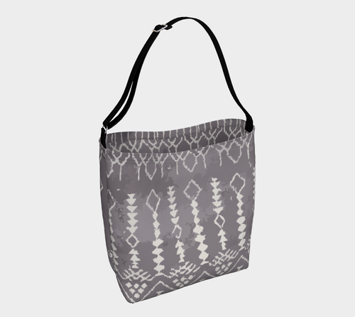 grey bohemian bag with berber pattern