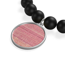 Load image into Gallery viewer, Matte Onyx Bracelet with Moroccan pink patterns