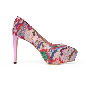 Platform Heels pink and colorful ethnic patterns